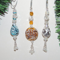 Handmade Murano Style Blown Glass Ornaments, Christmas Ornaments Set of 3. A221
