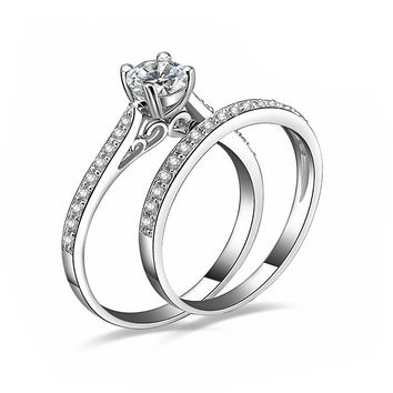 Silver Plated Australian Crystal Engagement Wedding Ring Set