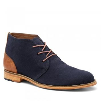 Men's Navy/Dark Tan Canvas/Leather Chukka Boots C5911 - BOOTS from J SHOES Online UK