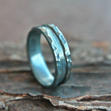 Black Wedding Band Men's Oxidized Ring Rustic Mens Ring Dark Band Sterling Silver Hammered Oxidized Wedding Ring