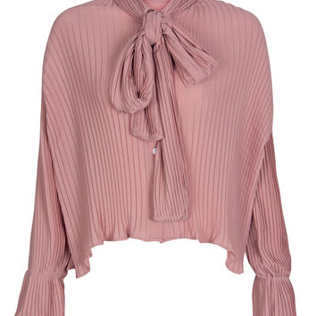 Pink Bow Tie Front Long Sleeve Chiffon Shirt