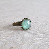 Mint Green Sparkle Resin Ring - Antique Bronze Adjustable Ring with Crown Edge