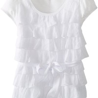 Amy Byer Big Girls' Gauze Tier Top, White, X-Large