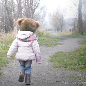 Girls Fashion - Animal Teddy Bear Hat - Kids Hats - Winter Hats Toddler Accessory - Fake Faux Fur - Soft Gift - Fleece Lining - Personalized