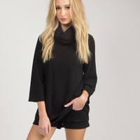 Turtleneck Bell Sleeved Top - Black - Large