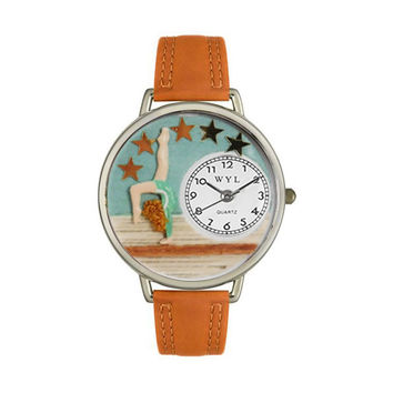 Whimsical Watches Designed Painted Gymnastics Tan Leather And Silvertone Watch