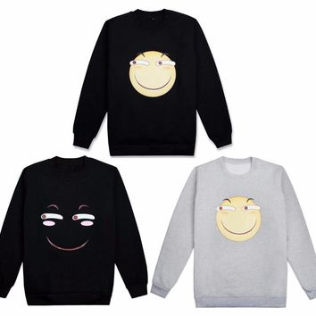 3Colors Cute Emoji Smile Face Hoodie Cosplay Costume Long Sleeve Pullover Thicken Fleeces T-shirt Daily Casual Sweatshirts