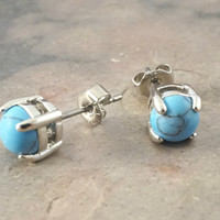 Turquoise Gemstone Post Earrings