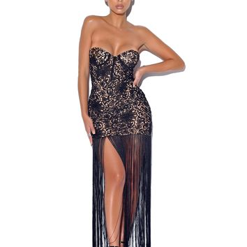 Become The One Black Lace Long Fringed Strapless Dress