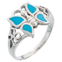 Butterfly Turquoise Stone Rings Sterling Silver Ring