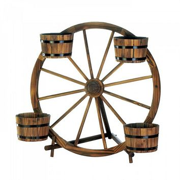 Wagon Wheel Barrel Planter Display