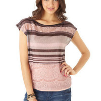 dELiAs > Stripe Lace Tee > clothes > tops > view all tops