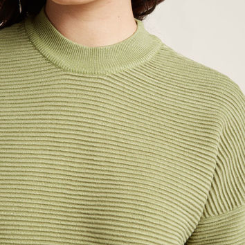 Mock Neck Sweater with Ribbing
