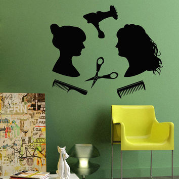 Wall Decals Vinyl Decal Sticker Art Mural Girls Hair Beauty Salon Decor Kj495
