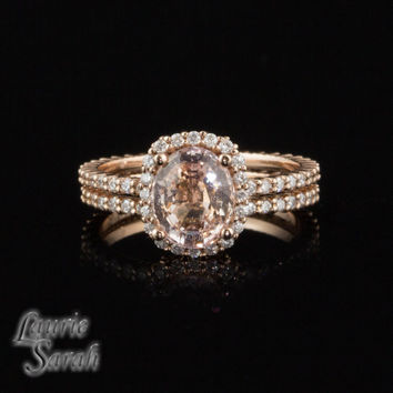 Rose Gold Peach Sapphire Engagement Ring Set with Diamond Halo and Half Eternity Band - LS2506