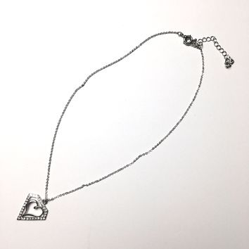 Dazzle diamond and heart shaped silver pendant necklace