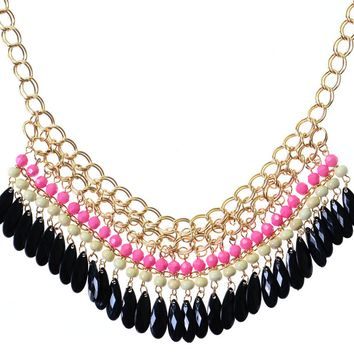 Pink Stone Woven Statement Necklace