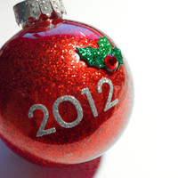 2012 Red Glitter Holiday Ornament