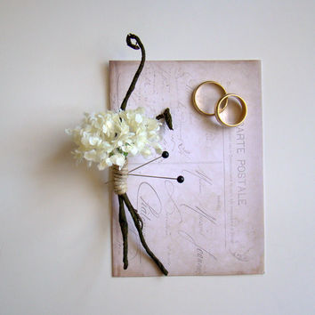 Wedding Boutonniere, Groom, Groomsmen, Ivory Blossom, Rustic, Natural, Branches, Woodland, Winter White, Snowball Hydrangea