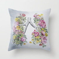 Floral Anatomy: Lungs Throw Pillow by Trisha Thompson Adams