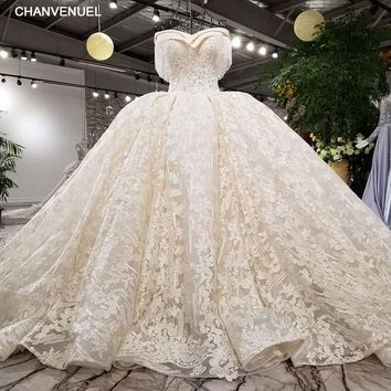 LS11457 Luxury wedding dress beading ball gown off the shoulder lace up lace bridal wedding gowns cathedral train real photos