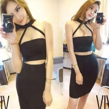 Sexy two piece black hot dress