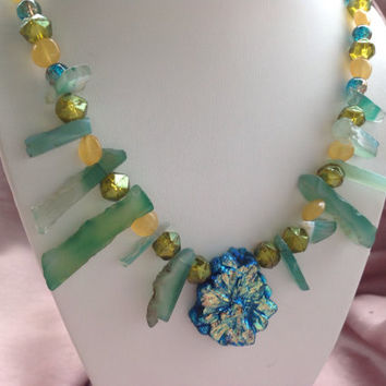Jewelry Necklace, jewelry gemstones, AAA Neon Blue Stalactite Drusy flower slice, green Agate rough cut semiprecious Gem, Swarvoski Crystal