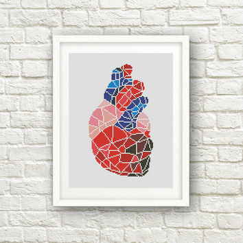 BUY 2 get 1 FREE!Geometric Heart Cross Stitch Pattern,  Human Anatomy Modern ,Human Heart Cross Stitch, PDF Instant Download, S053