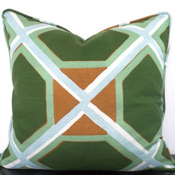 Green geometric pillow cover 20x20, large sofa cushion, green and brown pillow piping, green trellis cushion , decorative pillow cover