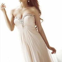 Naked Pink Deep V  Shoulder off Sexy Gown from WeiweiK
