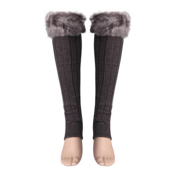 Amazing 1 Pair Solid Color Winter Knitted Faux Fur Leg Warmers for Women Adult 2016 New