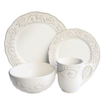 American Atelier Marselle 16-Piece Dinnerware Set in White
