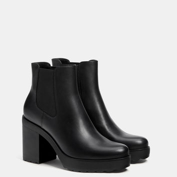 Elastic platform ankle boots - Boots & Ankle boots - Bershka United States