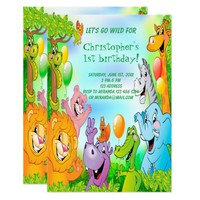 Safari jungle birthday party invitation