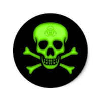 Green Biohazard Skull Sticker from Zazzle.com