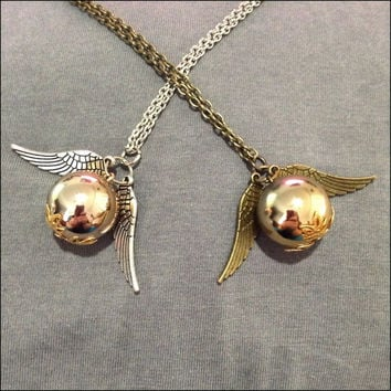Golden Snitch Necklace in Antique Bronze or Silver Harry Potter jewelry for fans of quidditch Long chain with Golden Snitch pendant charm