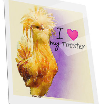 I Heart My Rooster Metal Panel Wall Art Portrait - Choose Size
