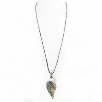 African Opal and Hematite Leaf Necklace