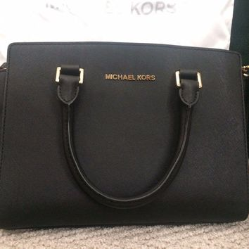 Michael Kors Savannah Medium Saffiano Leather Satchel BLACK tote bag
