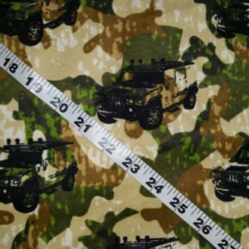 Flannel fabric with camouflage Hummer Humvee truck SUV cotton print quilt quilting sewing material to sew by the yard crafting