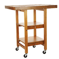 Folding Island Kitchen Cart with Hand Brushed Textured Top — QVC.com