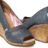 Indigo Metallic Linen Women's Wedges | TOMS.com