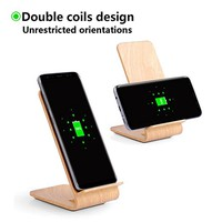 Wireless Charger, YOLIKE 2 Coils Wood Grain Wireless Charging Stand Q8F for iPhone 8/8 Plus, iPhone X, FAST Charging for Samsung Note8 S8 S8+ S7 S7 Edge Note 5 S6 Edge+ and Other Qi Devices