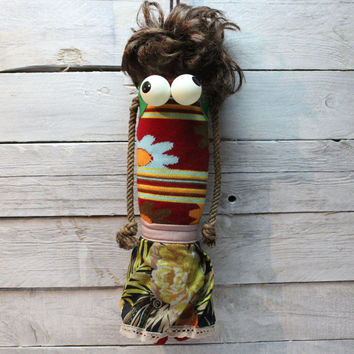 Unique handmade rag doll, sock doll, Cloth doll, handmade doll, sock puppet