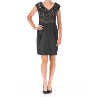 Sue Wong Womens Satin Embellished Cocktail Dress