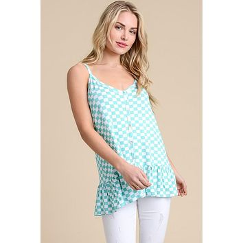 The Millie Checkered tank Top Mint