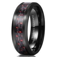 King Will Mens 8mm Tungsten Ring Black and Red Carbon Fiber Inlay Engagement Wedding Band