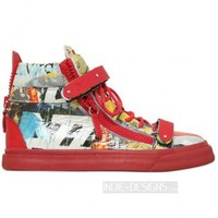 Indie Designs Giuseppe Zanotti Inspired 20mm Magazine Printed Leather High Top Sneakers