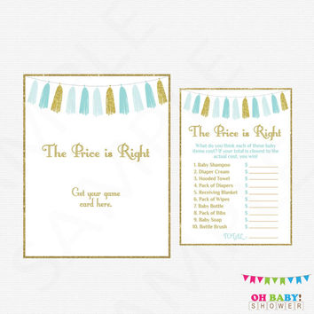 The Price is Right Blue Gold Baby Shower Games, Baby Shower Game AND Sign, Baby Shower Prinable, Boy Baby Shower, Instant Download, TASBG