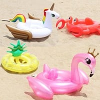 Hot Summer Baby Inflatable Flamingo Pool Float Swim Ring Swan Water Sports Fun Toy Pineapple Crab Unicorn Inflatable Circle Seat
